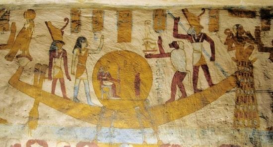 Raffigurazione della barca solare nel suo viaggio nell'aldilà