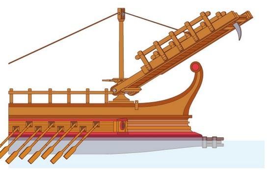 Nave romana con corvo