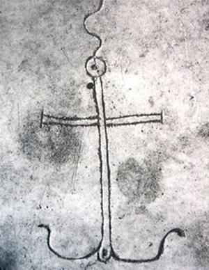 Àncora cruciforme. Catacomba di Domitilla (Roma). Lastra funeraria del III secolo