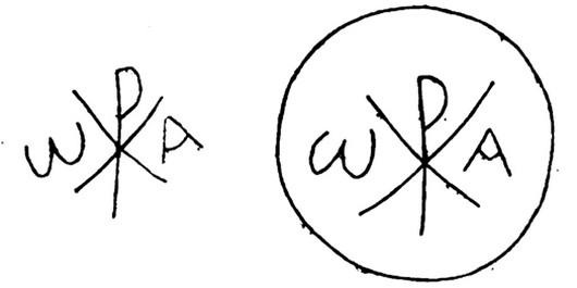 Chrismon ritrovati nell'area del Foro Romano su una colonna del tempio di Antonino e Faustina (fine III secolo-inizio IV)[21]