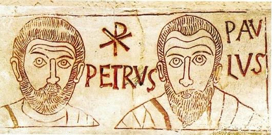 Gli apostoli Pietro e Paolo. Catacombe di Sant'Ippolito (Roma). IV secolo. Parte di lapide che ricorda il ragazzo Asello. Iscrizione in marmo.