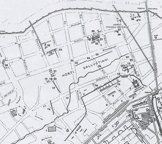 L'area degli Horti Sallustiani in dettaglio